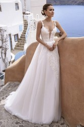 Plunging Tulle Sleeveless Straps And Deep V-neck Sexy Wedding Dress With Lace Details