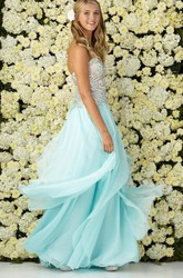 A-Line Maxi Sweetheart Sleeveless Chiffon Backless Dress With Beading And Draping
