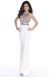 Form-Fitted Jersey Mermaid Sleeveless Prom Dress Featuring Bling Stones And Keyhole Back