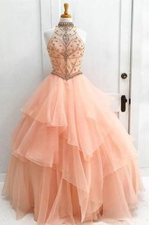 Sleeveless Floor-length Ball Gown High Neck Organza Dress