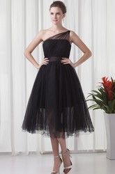 Tea-Length One-Shoulder A-Line Tulle Prom Dress with Pleats