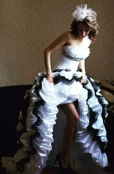 Sleeveless A-Line Strapless Taffeta High-Low Wedding Dress with Appliques Cascading Ruffles and Tiers