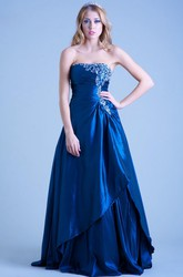 A-Line Sleeveless Strapless Floor-Length Beaded Satin Prom Dress With Draping