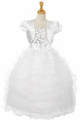 Bolero Ankle-Length Floral Sequins&Organza Flower Girl Dress With Ribbon