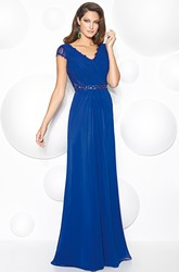 Sheath Floor-Length Cap-Sleeve V-Neck Lace Chiffon Prom Dress With Waist Jewellery And Ruching