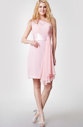 Vibrant One Shoulder Ruched Short Chiffon Dress With Side Draping