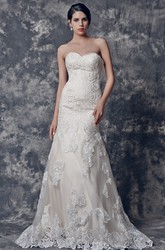 Elegant Sweetheart Fit and Flare Lace Wedding Dress