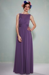 Bateau Neck Ruched Sleeveless Chiffon Bridesmaid Dress With Illusion Back