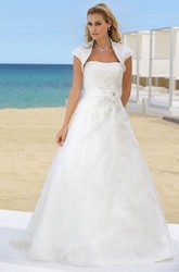 A-Line Cap-Sleeve Maxi Strapless Organza Wedding Dress With Cape And Side Draping