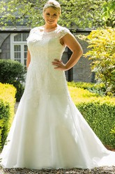 Scoop Neck Cap Sleeve Organza Bridal Gown With Lace Top