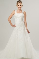 A-Line Sleeveless Strapped Beaded Long Lace&Tulle Wedding Dress With Appliques