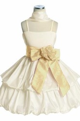 Knee-Length Floral Tiered Cap-Sleeve Taffeta Flower Girl Dress With Cape