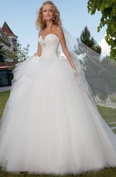 Long Sweetheart Beaded Ruffled Tulle Wedding Dress With Court Train And Corset Back