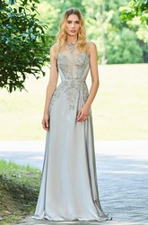 Appliqued Button Back Sleeveless Elegant Chiffon Prom Gown With Beading
