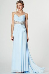 Ruched Spaghetti Sleeveless Chiffon Prom Dress