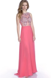 Sleeveless A-Line Chiffon Prom Dress With Jeweled Bodice