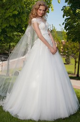 Ball Gown Sleeveless High Neck Tulle Wedding Dress With Keyhole