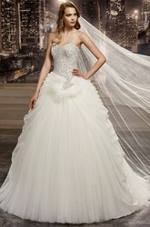 Sweetheart A-Line Ruching Gown With Beaded Bodice And Back Bow