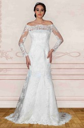 A-Line Off-The-Shoulder Long-Sleeve Lace Wedding Dress With Illusion