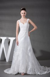 Strapped Sleeveless Lace A-Line Wedding Gown with Ruching and Beading