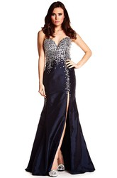 Sheath Crystal Sleeveless Floor-Length Sweetheart Satin Prom Dress With Backless Style And Split Front