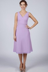 Lilac Classic Short Bridesmaid Dress