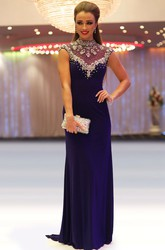 Sheath Cap-Sleeve Beaded Floor-Length High-Neck Jersey Prom Dress