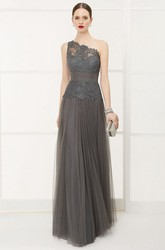Lace Top One Shoulder A-Line Tulle Long Prom Dress With Bandage And Sequins
