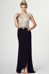 Sheath Floor-Length Scoop Cap-Sleeve Beaded Chiffon Prom Dress With Illusion Back And Split Front