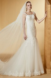 Scooped-Neck Mermaid Lace Long Wedding Dress With Beautiful And Brush Train