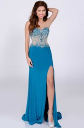 Jersey A-Line Side Slit Sweetheart Gown Featuring Crystal Bodice