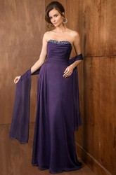 Strapless A-Line Long Mother Of The Bride Dress With Crystals And Matching Shawl