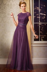 Cap-Sleeved Long Mother Of The Bride Dress With Beadings And Pleats