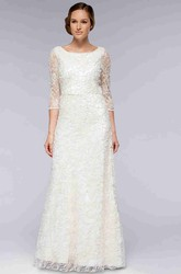 Sheath Scoop-Neck 3-4-Sleeve Lace Wedding Dress