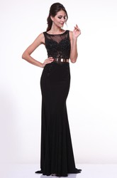 Sheath Long Bateau Sleeveless Jersey Illusion Dress With Pleats