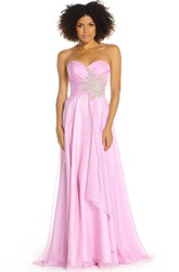 Sheath Floor-Length Criss-Cross Sleeveless Sweetheart Prom Dress With Waist Jewellery And Draping