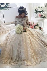 Beautiful Lace Long Sleeve Princess Wedding Dresses 2018 Ball Gown With Appliques
