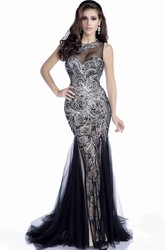Sophisticated Mermaid Sleeveless Tulle Prom Dress Featuring Rhinestones And Keyhole Back