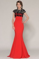 Mermaid Lace Cap-Sleeve Jewel-Neck Floor-Length Jersey Prom Dress