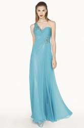 One Shoulder A-Line Chiffon Long Prom Dress With Crystal And Back Keyhole