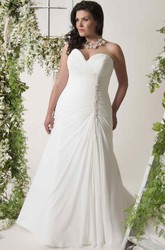Floor-Length Sweetheart Chiffon Plus Size Wedding Dress With Criss Cross And Corset Back