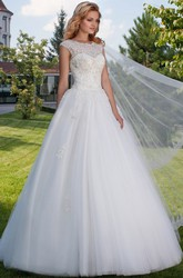 Ball Gown Maxi Scoop-Neck Sleeveless Tulle Wedding Dress With Appliques And Keyhole