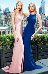 Sheath Sleeveless Scoop Neck Beaded Jersey Prom Dress With Low-V Back