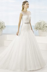 A-Line Scoop-Neck Sleeveless Jeweled Tulle Wedding Dress