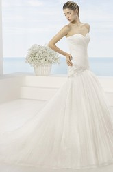 Trumpet Beaded Long Sweetheart Tulle Wedding Dress With Ruching And Bow