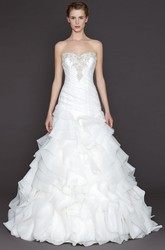 A-Line Sweetheart Organza Wedding Dress With Ruffles And Ruching