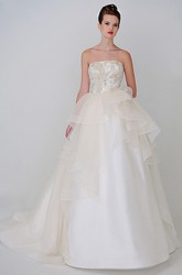 Ball Gown Strapless Maxi Satin Wedding Dress With Beading And V Back