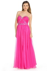 A-Line Ruched Sleeveless Sweetheart Floor-Length Prom Dress With Beading And Pleats