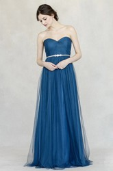 Sweetheart Sleeveless Jeweled Tulle Bridesmaid Dress With Straps