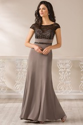 Cap-Sleeved Long Mother Of The Bride Dress With Bateau-Neck And Square Back